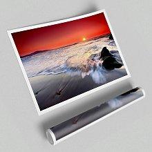 'Red Sunset Ocean Swell' - Unframed