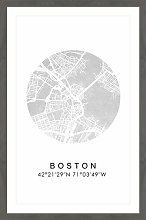 'Silver Boston' Framed Graphic Art Print