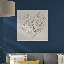 'Silver Heart' Drawing Print on Canvas