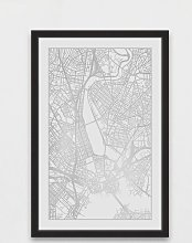 'Silver Map' Framed Graphic Art Print East