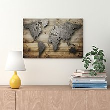 'Silver World' Graphic Art Print on Wood