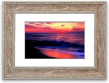 'Stunning Red Distant Sun Ocean' Framed