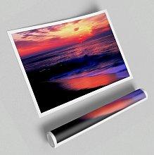 'Stunning Red Distant Sun Ocean' -