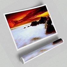 'Stunning Red Sky Ocean Mist' - Unframed