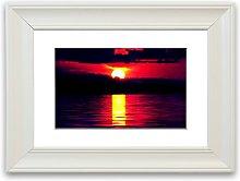 'Sun Blaze Over the Red Ocean Sky' Framed