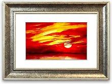 'Surreal Red Ocean Skies Cornwall' Framed