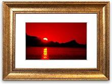 'Vibrant Red Ocean Sunset Lounge' Framed