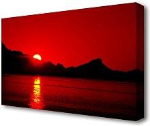 'Vibrant Red Ocean Sunset Seascape'