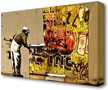 'Wall Paper Banksy' Graphic Art Print on