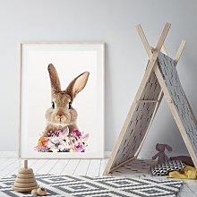 'Woodland Nursery - Bunny And Flowers '
