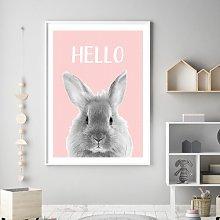 'Woodland Nursery - Hello Bunny ' Framed