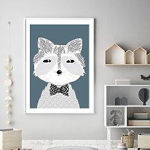 'Woodland Nursery Mr Raccoon Denim' Framed