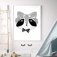 'Woodland Nursery Mr Raccoon Head' Framed