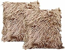 3C Collection 2 Pack Fluffy Cushion Covers Taupe