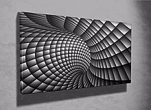 3D Abstract black and white swirl framed canvas