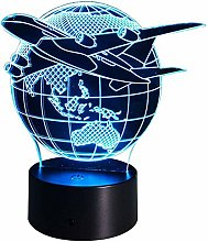 3D Aircraft Night Light USB Touch Switch Decor