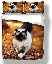 3D Animal Cat Duvet Cover Set King Size with 2