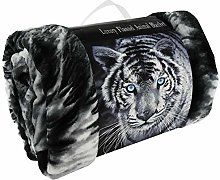 3D Animal Effect Printed Black & White Tiger