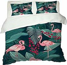 3D Animal Flamingo Bedding set Green White Pink