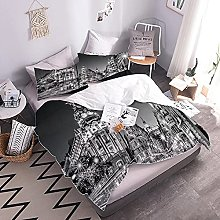 3D Bed Set City Easy Care Quilt Cover And