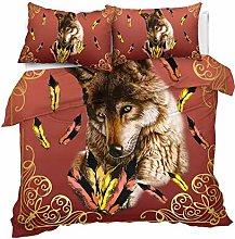 3D Bedclothes 2/3 pcs Wild Animal Wolf Pattern