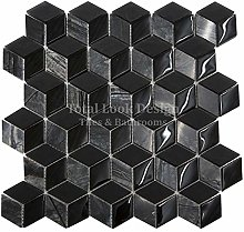 3D Black Glass & Marble Mosaic Tiles Sheet for