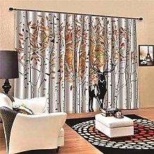 3D Blackout Curtains,2 Panels Set Birch Forest,