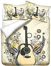 3D Boys Duvet Cover Set Single Music Guitar Melody