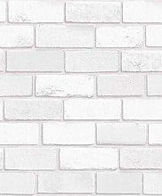 3D Brick Effect Wallpaper White Glitter Shimmer