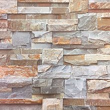 3D Brown Slate Brick Stone Effect Wallpaper Luxury