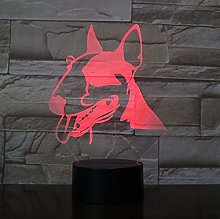 3D Bull Terrier LED Night Light Animal Pet Dog