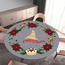3D Christmas Round Tablecloth Fitted Elastic Table