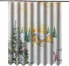 3D Christmas Theme Waterproof Polyester Shower