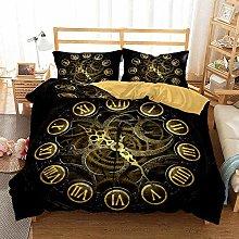 3D Clock Print Bedding Sets with 2 Pillow Shams,