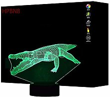 3D Crocodile Night Light USB Touch Switch Decor