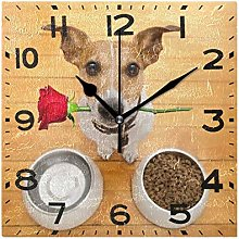3D Cute Jack Russell Dog with Rose Print Square