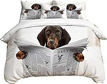 3D Dachshund Dog Husky Cat Animal Duvet Cover with