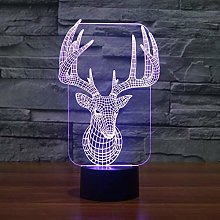 3D Deer Night Light 7 Colors Changing USB Power