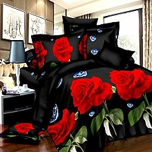 3D Diamonds Red Roses Effect 4 Pieces Complete