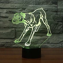 3D Dog Night Light 7 Colors Changing USB Power