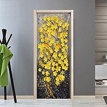 3D Door Mural Yellow Flowers Wallpaper PVC