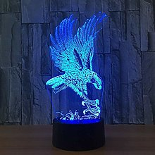 3D Eagle Night Light 7 Colors Changing USB Power