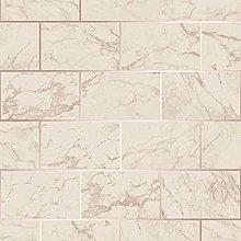 3D Effect Brick Tile Wallpaper Cream Grey Marble
