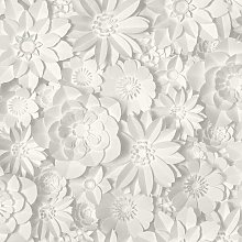 3D Effect Floral Wallpaper Flowers White Grey
