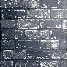 3D Effect Metallic Brick Wallpaper Black Silver