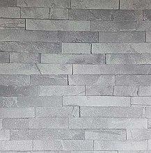 3D Effect Slate Grey Stone Wall Brick Wallpaper