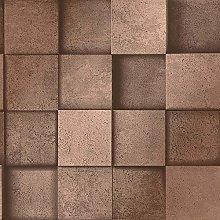 3D Effect Square Stone Brick Copper Metallic