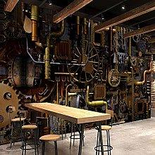 3D Engine Gear Mural Grill Cafe Restaurant Bar