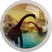 3D Fantasy Landscape with Dinosaur Set of 4 Drawer