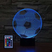3D Football Night Light USB Powered Remote Control